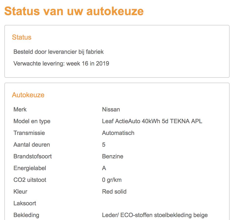 Status bestelling